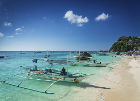 tour boats: tourist water taxi tour boats in paradise diniwid beach boracay philippines