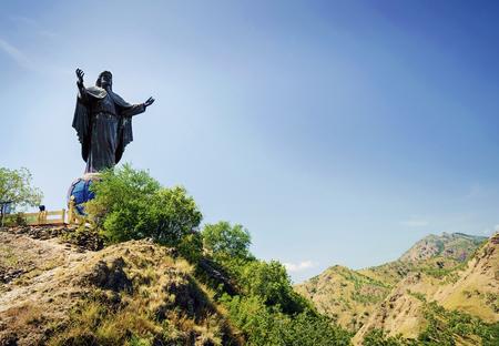 jesus statue: cristo rei jesus statue landmark in dili east timor leste Editorial