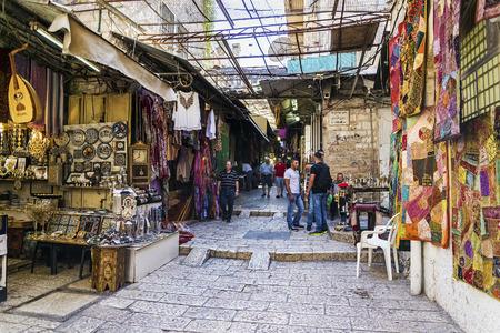 palestinian: palestinian souk bazaar market street shops stalls in jerusalem old town israel