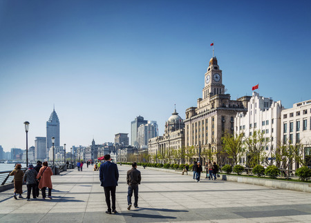 central european: bund european colonial heritage riverside landmark area of central shanghai city china Editorial