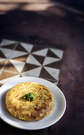 rustic food: spanish tortilla egg omelette traditional tapas snack rustic style food Stock Photo