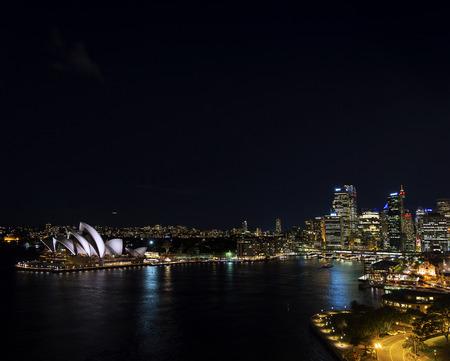 nightime: sydney harbour CBD opera house skyline famous landmarks in australia at night Editorial