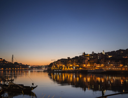 riverside: porto old town ribeira area and douro riverside in portugal at night