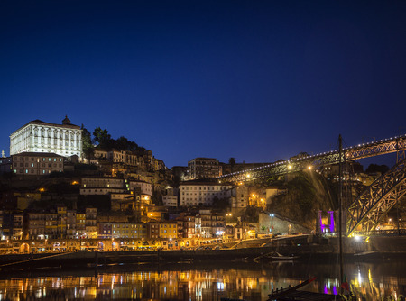 riverside: porto ribeira riverside old town and landmark bridge view in portugal at night