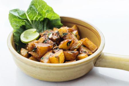 lebanese: batata harra lebanese middle eastern spicy fried garlic herb potato snack food