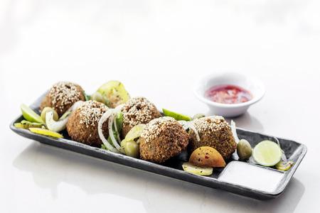 middle eastern: chickpea falafel traditional middle eastern food snack platter starter set