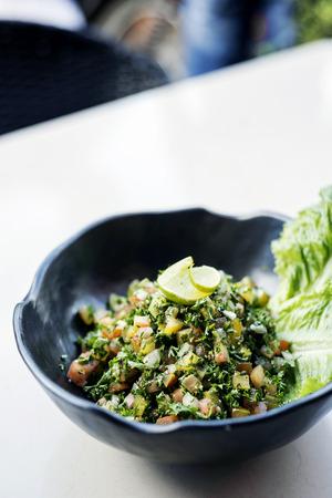 middle eastern: tabouleh traditional lebanese middle eastern fresh salad bowl meze mezze starter Stock Photo