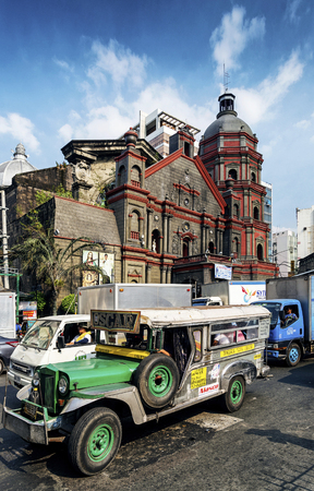 congested: jeepney bus on busy traffic congested streets in central urban manila city in the philippines asia
