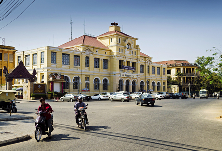 phnom penh: old colonial french architecture post office in central phnom penh city cambodia