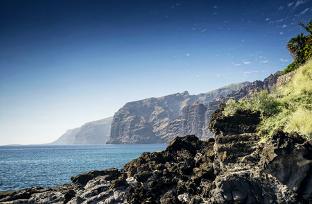 natural landmark: los gigantes cliffs coast natural landmark and scenery in south tenerife island spain Stock Photo