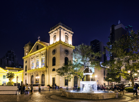 colonial church: portuguese old town colonial church square in central macao macau china