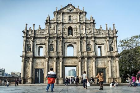 church ruins: st pauls church ruins famous tourist attraction landmark in macau china