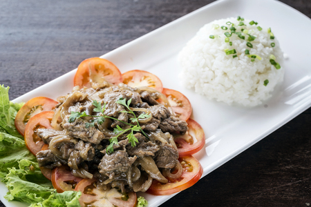 cambodian: cambodian fried beef lok lak traditional khmer food Stock Photo