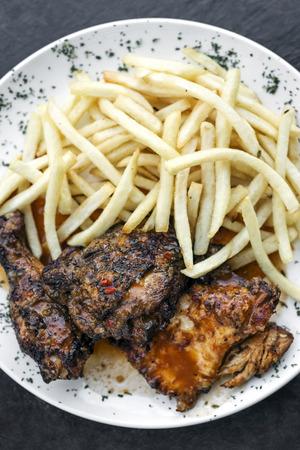 piri piri: portuguese famous piri piri spicy bbq chicken with french fries meal