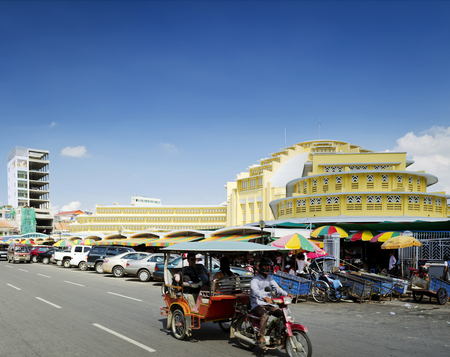 central market: psar thmei central market and street in phnom penh  city cambodia Editorial