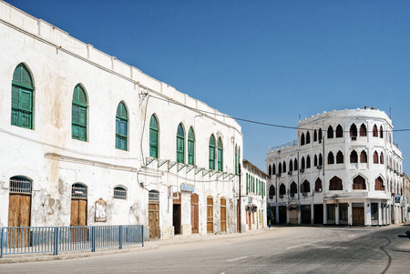 local red sea style architecture street in central massawa old town eritrea Editorial