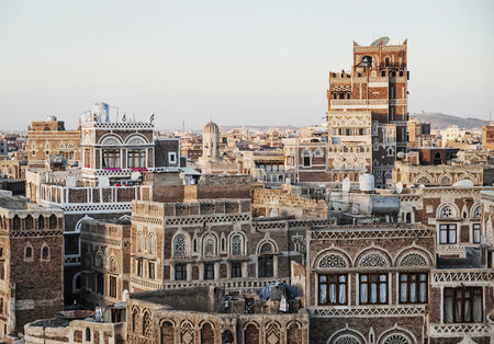 view of central sanaa  city old town skyline traditional buildings in yemen Stock Photo