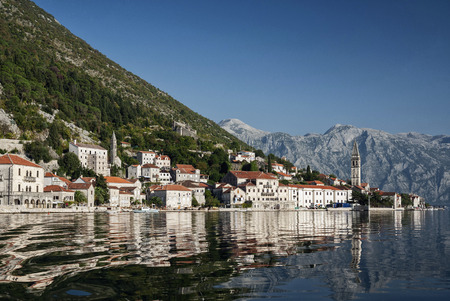 kotor: perast traditional balkan village mountain landscape by kotor bay in montenegro