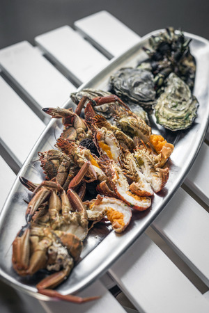mixed fresh portuguese seafood selection gourmet set platter meal on table
