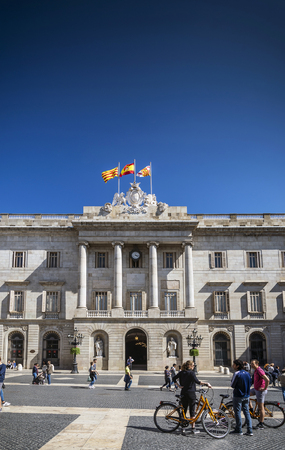 town hall landmark building at Plaza de Sant Jaume barcelona spain Editorial