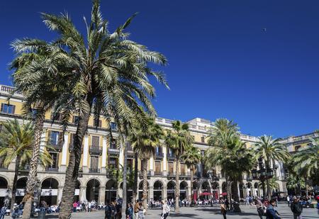 famous landmark plaza real square in central barcelona city in spain Editorial