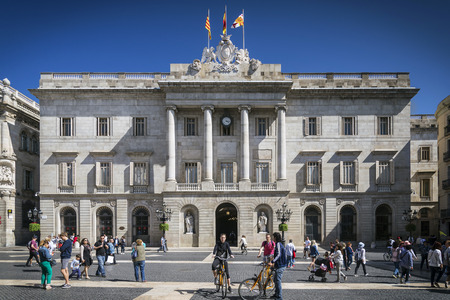 governement: town hall landmark government building at sant jaume square in old town of barcelona spain
