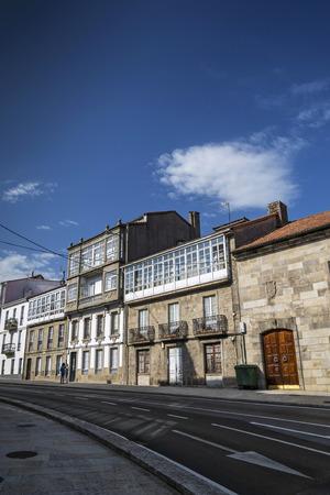 street scene in santiago de compostela old town in spain