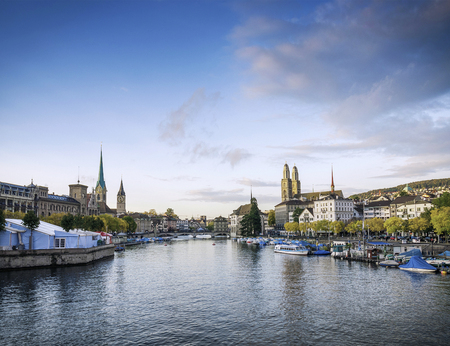 limmat river in central zurich Altstadt historic landmark old town area