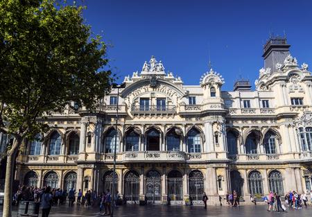 Port vell landmark catalan building in barcelona port area in spain