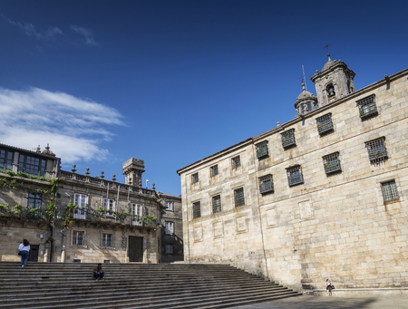 square in historic old town area of santiago de compostela city spain Editorial