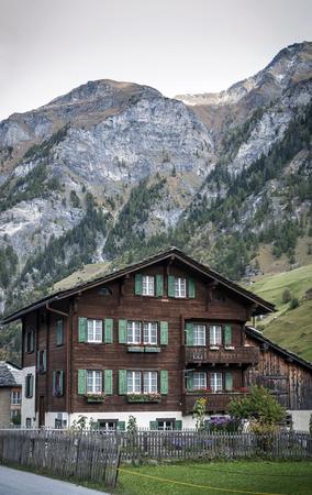 traditional swiss alps rural wood houses in vals village of alpine switzerland