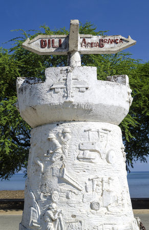 old portuguese colonial road sign monument in  dili east timor leste