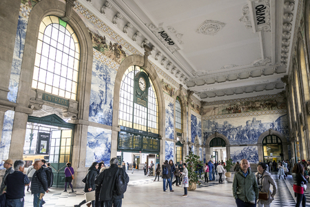 sao bento central railway station landmark interior in porto portugal