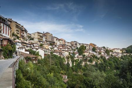 terraced houses in old town of veliko tarnovo bulgaria