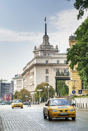 taxis in central  downtown sofia city street in bulgaria 報道画像