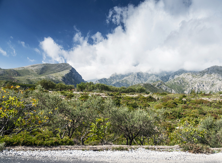 South albania countryside scenic landscape view on sunny day near Sarande