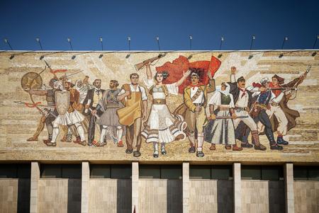 National Historical Museum landmark and famous The Albanians socialist realist mosaic mural in skanderberg square of tirana albania