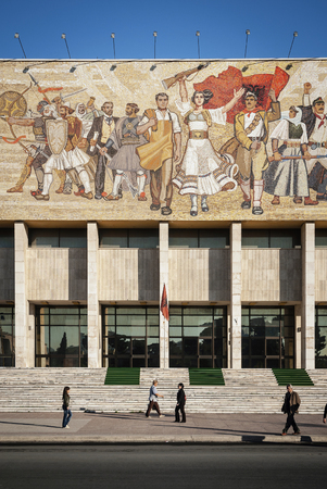 National Historical Museum landmark and famous 'The Albanians' socialist realist mosaic mural in skanderberg square of tirana albania Banco de Imagens - 120227160