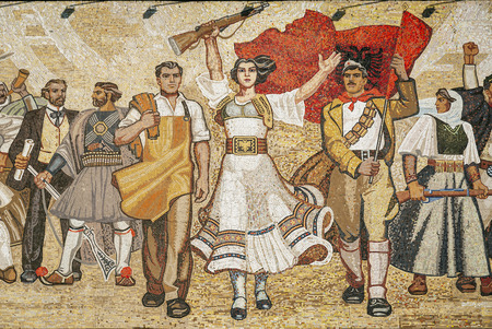 National Historical Museum landmark and famous The Albanians socialist realist mosaic mural in skanderberg square of tirana albania