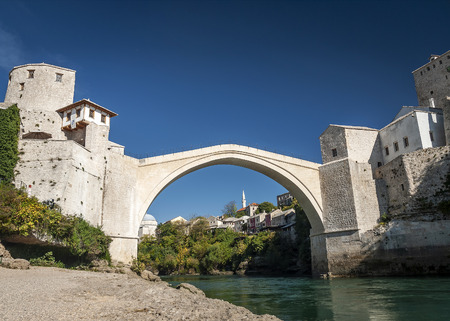 old bridge famous landmark in mostar town bosnia and herzegovina by day 写真素材