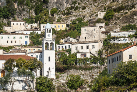 dhermi traditional albanian village view in southern albania Stock Photo