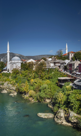 neretva river and mosque in old town of mostar bosnia