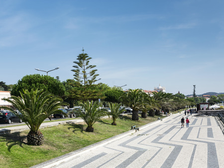 downtowm figueira da foz city central street view in portugal