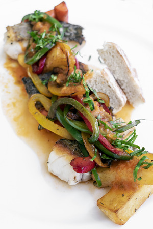 caldeirada traditional portuguese fish and vegetable spicy stew in gourmet restaurant