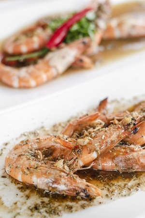 portuguese seafood mixed traditional prawn tapas dishes on lisbon restaurant table