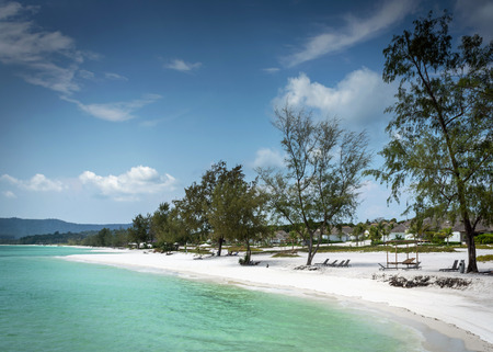 view of paradise long beach resort area of koh rong island near sihanoukville cambodia coast Stok Fotoğraf - 122718361
