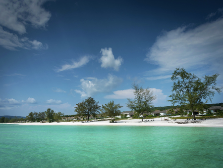 view of paradise long beach resort area of koh rong island near sihanoukville cambodia coast