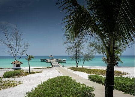 ferry boat pier on paradise koh rong island beach near sihanoukville cambodia