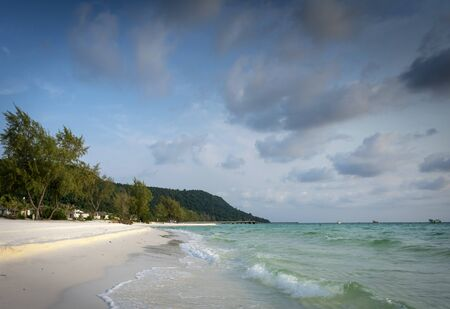 long beach resort area view in tropical paradise koh rong island cambodia