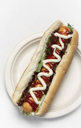 classic hot dog with frankfurter sausage and sauces on white studio background